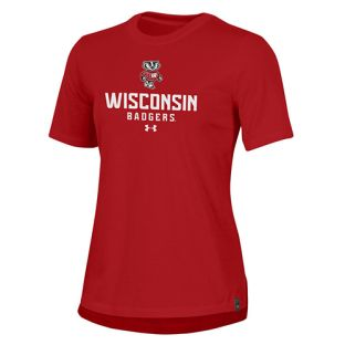 Wisconsin Badgers Under Armour Red Women's Bucky Text T-Shirt