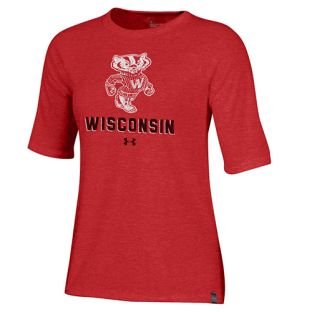 Wisconsin Badgers Under Armour Red Women's Retro Bucky WI Triblend T-Shirt