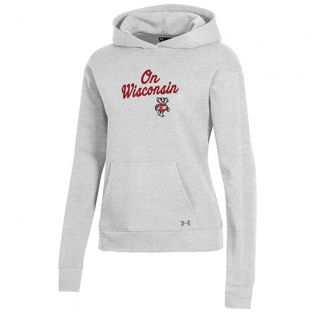 Wisconsin Badgers Under Armour Silver Heather Women's On Wisconsin All Day Hooded Sweatshirt