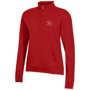 Wisconsin Badgers Under Armour Red Women's All Day Fleece 1/4 Zip