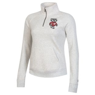 Wisconsin Badgers Under Armour Silver Women's All Day Puffy Bucky 1/4 Zip