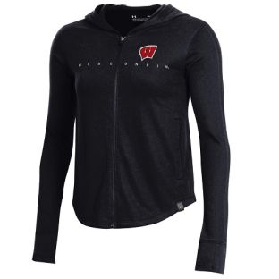 Wisconsin Badgers Under Armour Black Women's Ascend Zip Hooded Sweatshirt