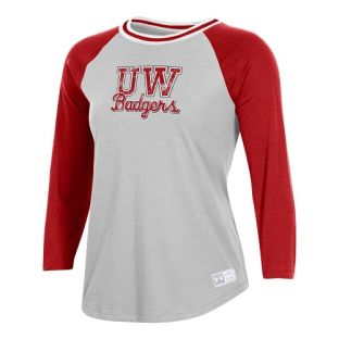 Wisconsin Badgers Under Armour Red & Silver Women's Script Badgers 3/4 Sleeve T-Shirt