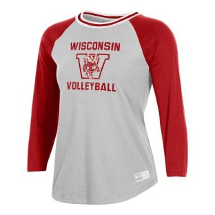 Wisconsin Badgers Under Armour Red & Silver Women's Volleyball Block 3/4 Sleeve T-Shirt