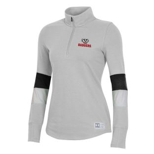 Wisconsin Badgers Under Armour Silver Women's Game Day Bucky Head 1/4 Zip