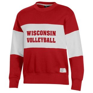 Wisconsin Badgers Under Armour Red Women's Volleyball All Day Contrast Stripe Crewneck Sweatshirt