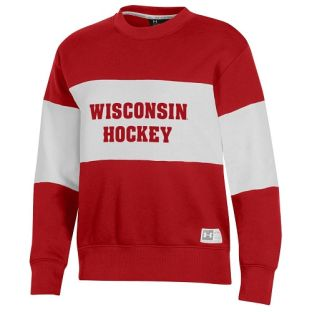 Wisconsin Badgers Under Armour Red Women's Hockey All Day Contrast Stripe Crewneck Sweatshirt