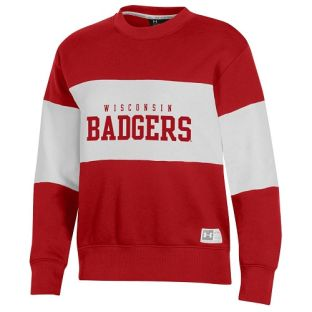 Wisconsin Badgers Under Armour Red Women's All Day Contrast Crewneck Sweatshirt