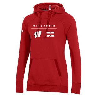 Wisconsin Badgers Under Armour Red Women's Sideline Campus Hooded Sweatshsirt