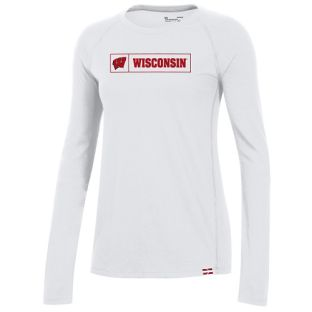 Wisconsin Badgers Under Armour White Women's Sideline Pinnacle Long Sleeve T-Shirt
