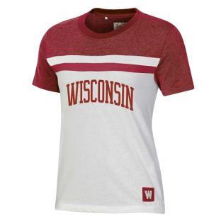 Wisconsin Badgers Under Armour Red & White Women's Iconic Arch Short Sleeve T-Shirt