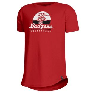 Wisconsin Badgers Under Armour Red Girls Volleyball Sunset T-Shirt