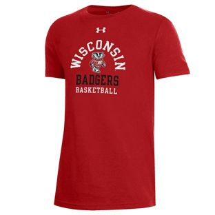 Wisconsin Badgers Under Armour Red Youth Basketball Bucky Cotton T-Shirt