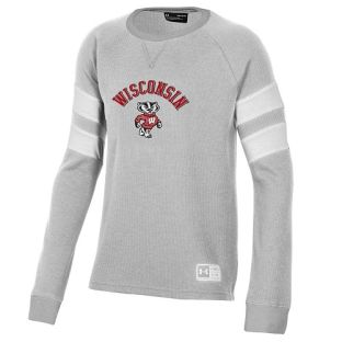 Wisconsin Badgers Under Armour Silver Youth Off Grid Bucky Crew