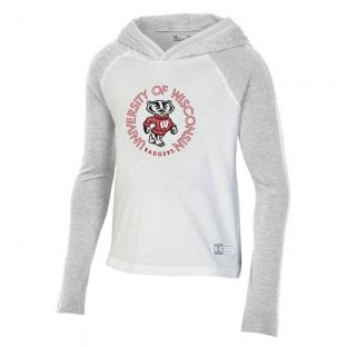 Wisconsin Badgers Under Armour Silver Girls Raglan Gameday Hooded Sweatshirt