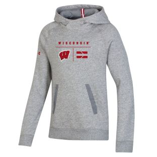 Wisconsin Badgers Under Armour Gray Youth Sideline Campus Hooded Sweatshirt