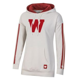 Wisconsin Badgers Under Armour Red & Ivory Women's Iconic Stripe Hooded Sweatshirt