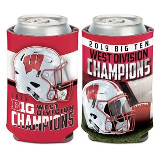 Wisconsin Badgers Football 2019 Big Ten West Division Champions Coozie