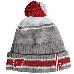 Wisconsin Badgers Under Armour Gray 2019 Sideline Pom Knit
