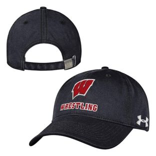 Wisconsin Badgers Under Armour Black Wrestling Washed Adjustable Hat