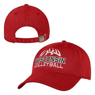 Wisconsin Badgers Under Armour Red Volleyball Washed Adjustable Hat