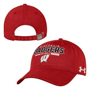 Wisconsin Badgers Under Armour Red Softball Washed Adjustable Hat