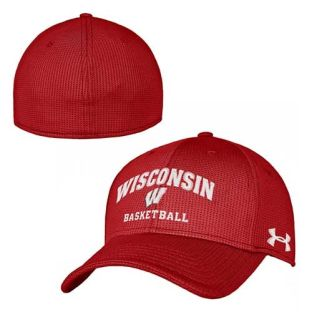 Wisconsin Badgers Under Armour Red Basketball Blitzing Arch Hat