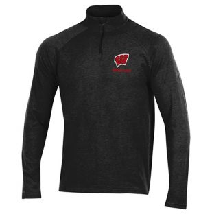 Wisconsin Badgers Wrestling Under Armour Black Charged Cotton 1/4 Zip