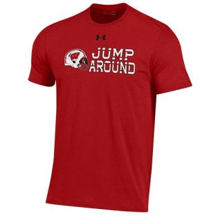Wisconsin Badgers Under Armour Football Red Jump Around Cotton T-Shirt