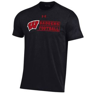 Wisconsin Badgers Under Armour Football Black W Stack Cotton T-Shirt
