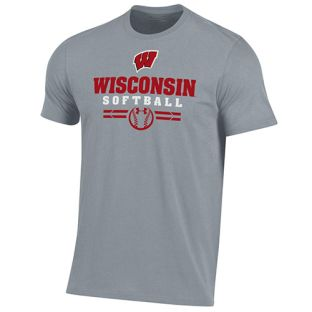Wisconsin Badgers Under Armour Softball Steel Sport Cotton T-Shirt