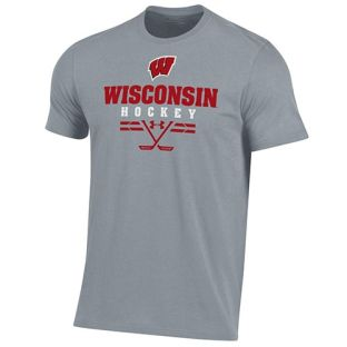Wisconsin Badgers Hockey Under Armour Steel Sport Cotton T-Shirt