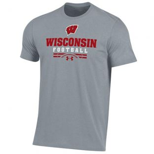 Wisconsin Badgers Football Under Armour Steel Sport Cotton T-Shirt