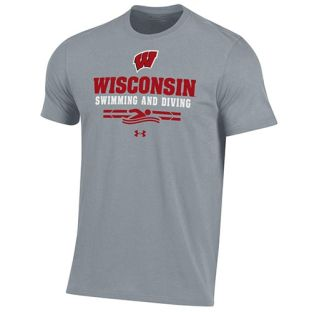Wisconsin Badgers Swim & Dive Under Armour Steel Sport Cotton T-Shirt