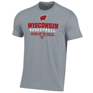 Wisconsin Badgers Basketball Under Armour Steel Sport Cotton T-Shirt