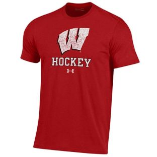 Wisconsin Badgers Hockey Under Armour Red W Logo Cotton T-Shirt