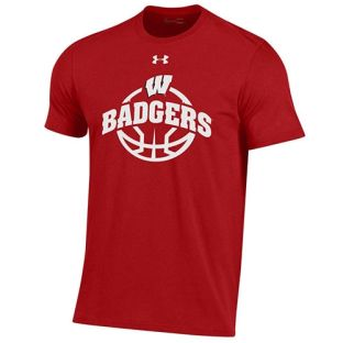 Wisconsin Badgers Basketball Under Armour Red Arc Ball Cotton T-Shirt
