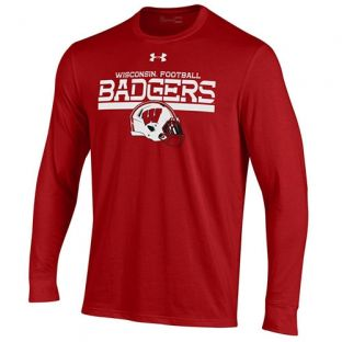 Wisconsin Badgers Under Armour Football Red Helmet Cotton Long Sleeve T-Shirt