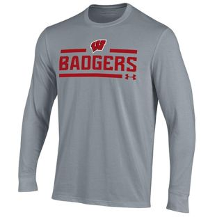 Wisconsin Badgers Under Armour Steel W Split Cotton Long Sleeve T-Shirt
