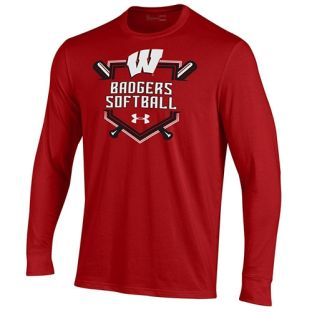 Wisconsin Badgers Softball Under Armour Red Homeplate Cotton Long Sleeve