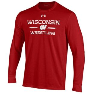 Wisconsin Badgers Wrestling Under Armour Red Stencil Cotton Long Sleeve T-Shirt