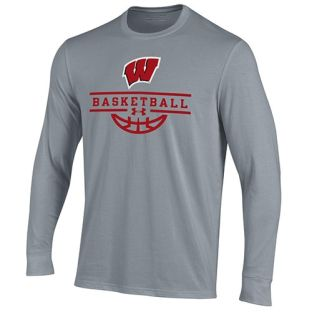 Wisconsin Badgers Basketball Under Armour Steel W Stack Cotton Long Sleeve T-Shirt