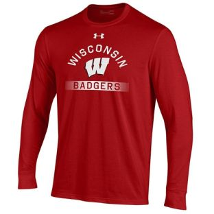 Wisconsin Badgers Under Armour Red Arc W Streaks Cotton Long Sleeve T-Shirt