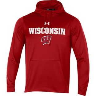 Wisconsin Badgers Under Armour Tackle Twill Block W Hooded Sweatshirt