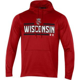 Wisconsin Badgers Under Armour Red Split Bucky Tackle Twill Hooded Sweatshirt