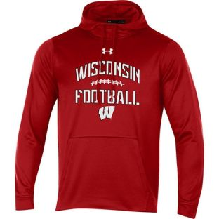Wisconsin Badgers Under Armour Football Red Laces Hooded Sweatshirt