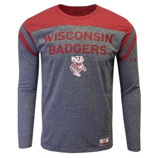 Wisconsin Badgers Under Armour Gray & Red Iconic Sleeve Stripe Long Sleeve
