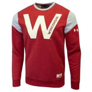 Wisconsin Badgers Under Armour Red Iconic W Insert Crew Neck Sweatshirt