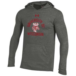Wisconsin Badgers Under Armour Retro Bucky Arch Tri-blend Hooded Sweatshirt