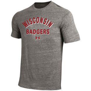 Wisconsin Badgers Under Armour Grey Soft Arc Badgers Triblend T-Shirt